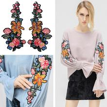 2Pcs Flower Rose Embroidered Iron on Patch Clothes Applique Sticker Decoration Fashion embroidered rose patch tee dress