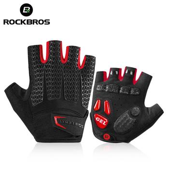 ROCKBROS rękawice rowerowe rękawice MTB Road rękawice rowerowe Half Finger mężczyźni lato rower siłownia antypoślizgowe rękawiczki sportowe tanie i dobre opinie Skóra syntetyczna Lycra Pół palca Jazda na rowerze S169 Zmywalna Cycling gloves hiking gloves fitness gloves gym gloves