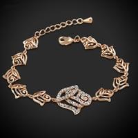Ladies Bracelet Rose Gold Màu Pave Cubic Zirconia Flower Charm Bracelet Cho Phụ Nữ Đồ Trang Sức Bán Buôn Pulseras
