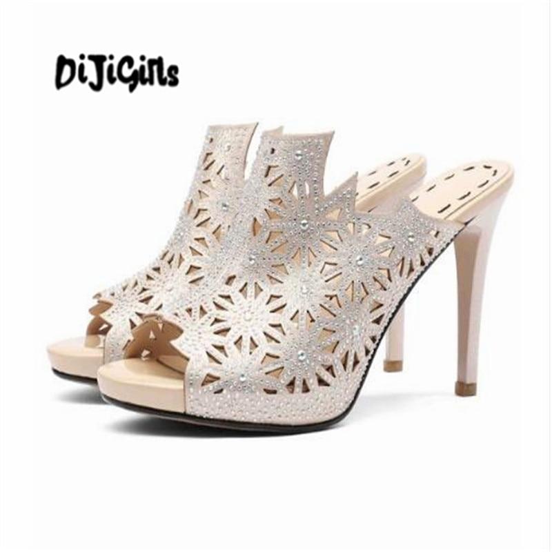 DIJIGIRLS genuine leather peep toe slip on carving fashion diamond high heels crystal gorgeous strange platform sandals