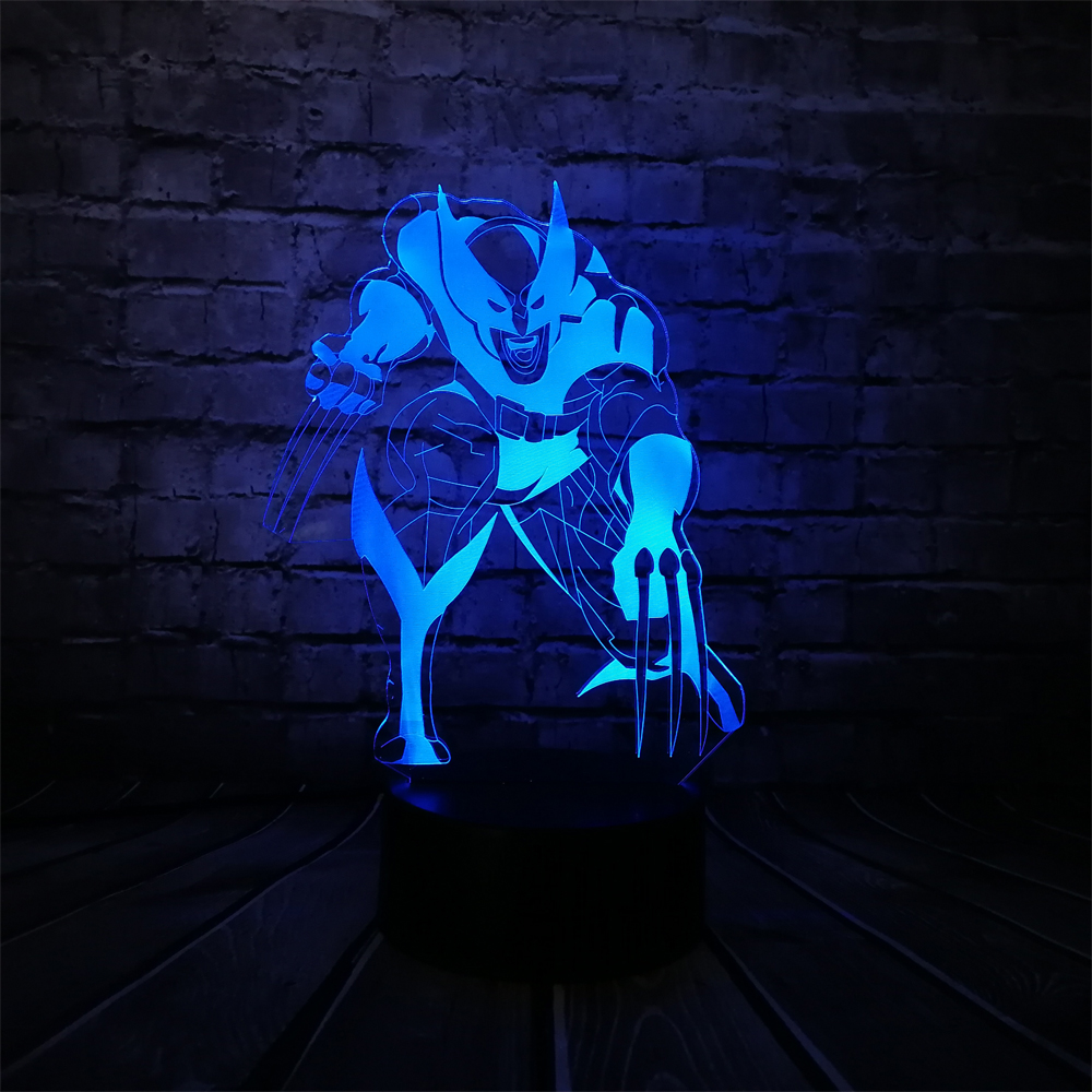 X-Men SeriesWolverine Loga Wolf 3D Lamp CAR USB Night Light Multicolor Lava LED Lighting ...
