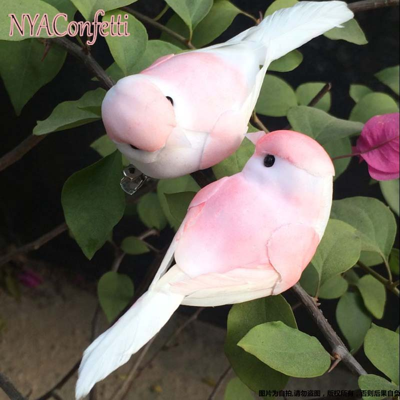 12PCS,Decorative Pink Love Bird Artificial Foam Feather Mini Birds With Clip,DIY Craft For Christmas Ornament,Wedding Decoration