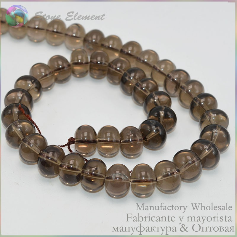 smoky quartz roundel beads