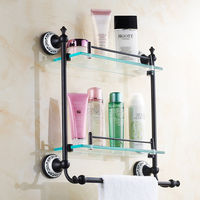 ORB European Antique glass bathroom shelves towel racks dual tier copper storage rack dresser shelf Oil Rubbed Bronze black