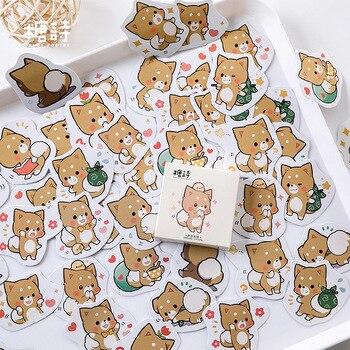 45 unids/pack Linda etiqueta engomada del perro de Akita Diy Ablum álbum de recortes diario etiqueta engomada Kawaii pegatinas de papelería japonesas