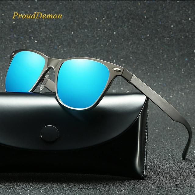 Hombres cuadrados de aluminio magnesio gafas de sol polarizadas Unisex  conducción espejos puntos de revestimiento hombres 67cab06d4408