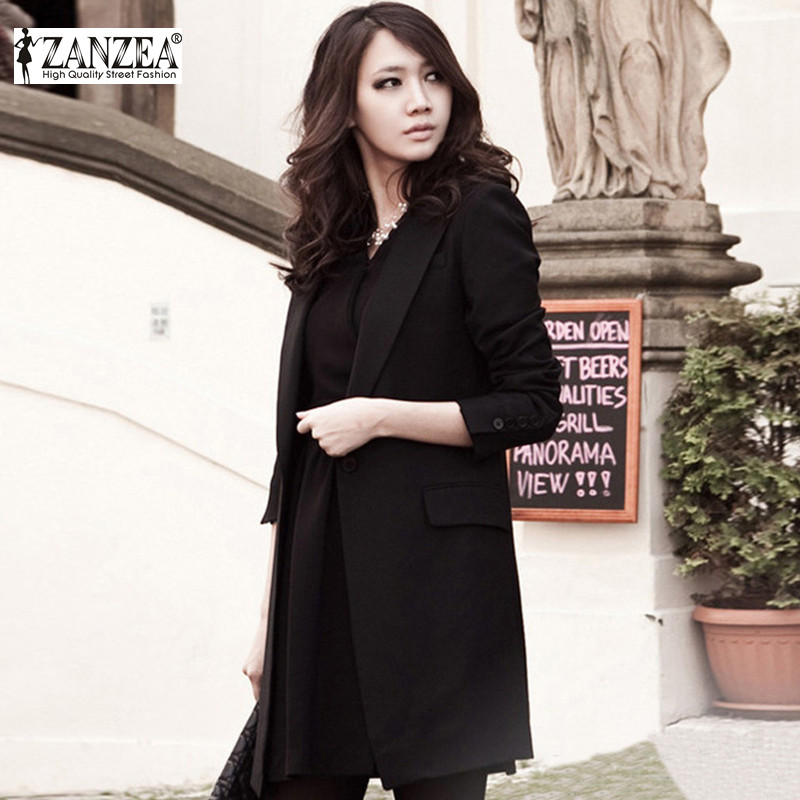 Fashion Autumn Outwear 2016 Women Blazer Lapel Collar Long Sleeve Single Button Elegant Black Work Long Jacket Coat feminino