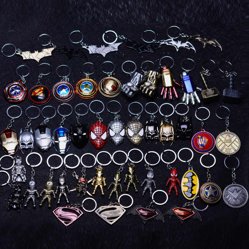 2019 New Captain America Thor Batman Iron Man Superman Spider Man The Avengers Keychain Keyring Movie Super Hero Key Ring Access