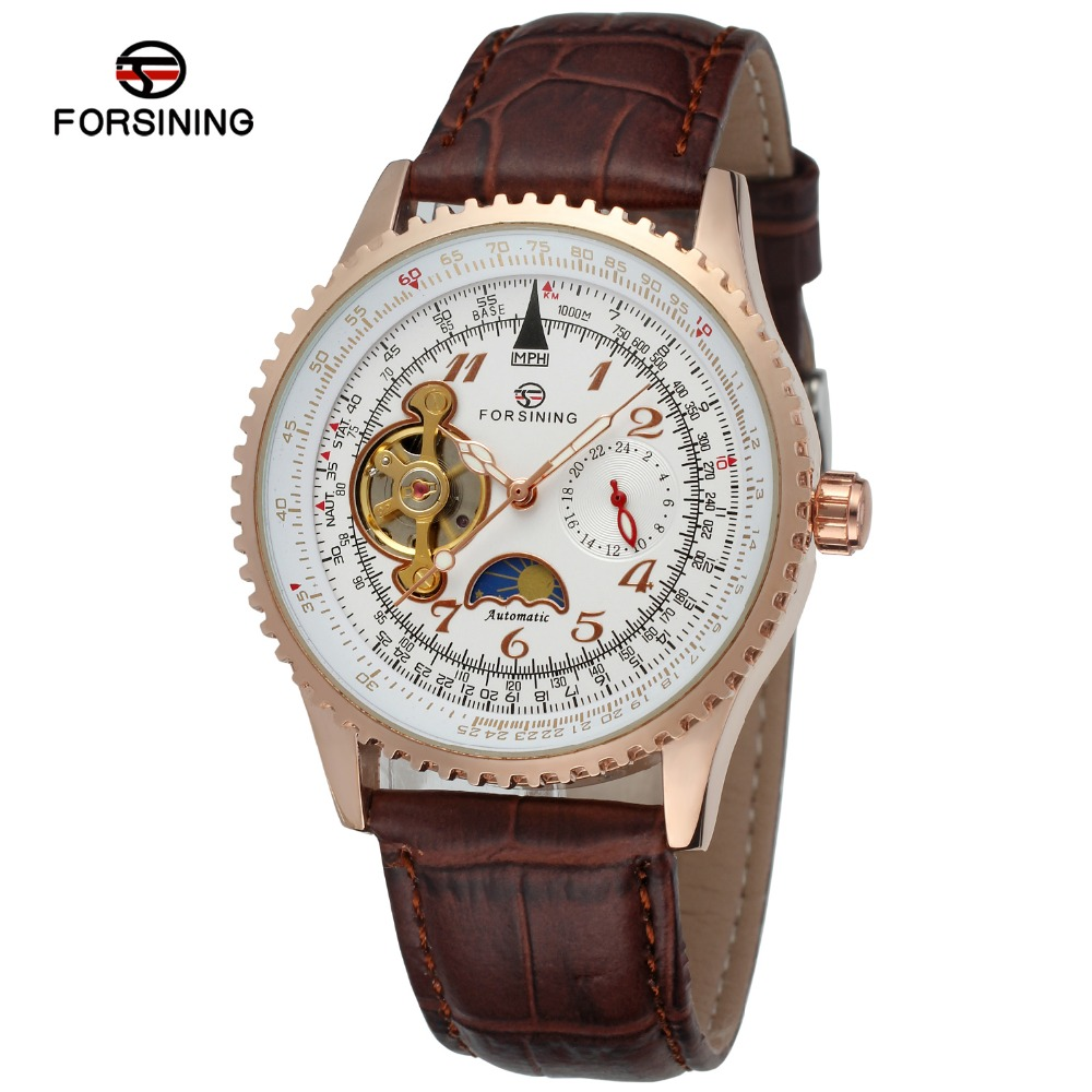 FORSINING Men Luxury Brand Moon Phase Genuine Leather Strap Watch Automatic Mechanical Wristwatch Gift Box Relogio RelegesFORSINING Men Luxury Brand Moon Phase Genuine Leather Strap Watch Automatic Mechanical Wristwatch Gift Box Relogio Releges