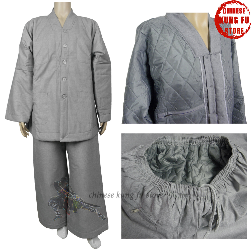 Top Quality Winter Shaolin Kung Fu Uniform Martial Arts Suit Buddhist Lay Monk Meditation Clothes
