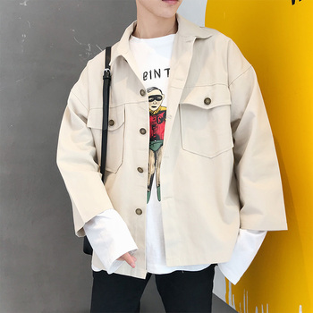 2018 Autumn New Men's Jacket Black Khaki Fashion Casual Loose Simple Japanese Trend Street Tooling Wind Long Sleeve Coat