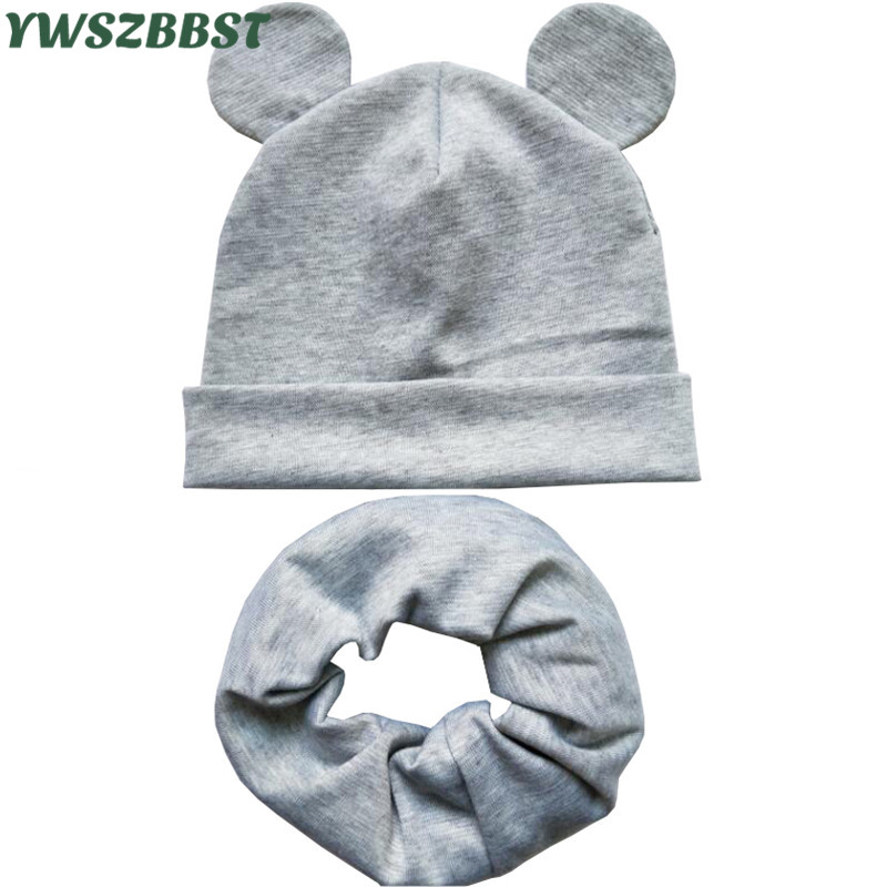 2020 New Spring Baby Hat With Cute Ears Cotton Infant Hat Scarf Girls Boys Cap Ring Scarf Collar Autumn Winter Baby Cap