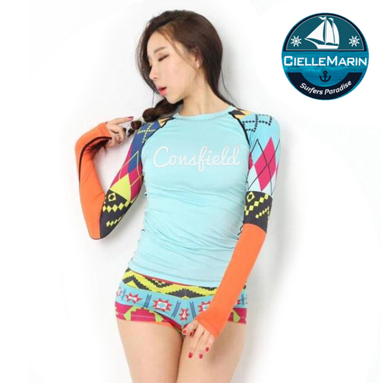 4371dbca4ab61 Two Piece Set Women s UV Sun Protection Long-Sleeve Rash Guards Basic Skins  Tee Sun Shirt and Shorts Printed Swimming Suit