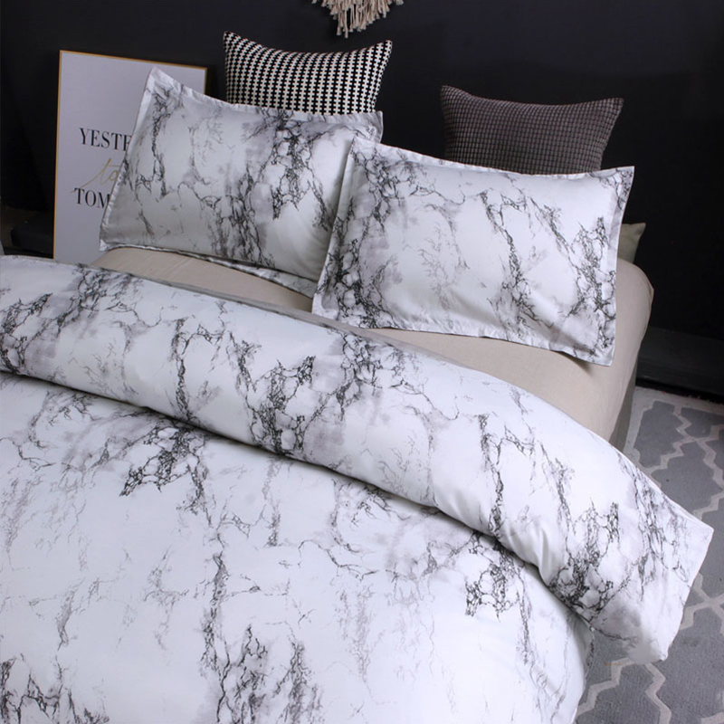 Image 2 - 5 Colors Bedding Set Nordic Modern Style Marble Pattern Printed Duvet Cover Set  Double Full Queen King Size Bed Linen 8 Size-in Duvet Cover from Home & Garden