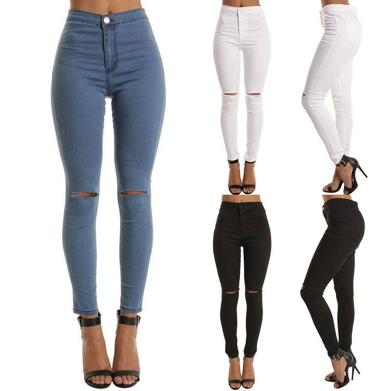 SHUJIN High Waist Casual Skinny Jeans For Women Hole Vintage Girls Slim Ripped Denim Pencil Pants High Elasticity Black Blue