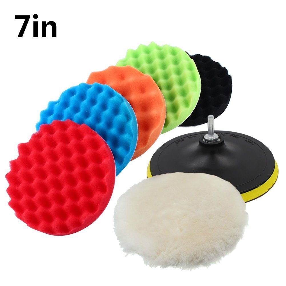 7 Pcs 4 inch 5 inch 6 inch 7 inch Sponge Polishing Waxing Buffing Pads Kit Set Compound Auto Car Polisher M14 Drill Adapter Kit