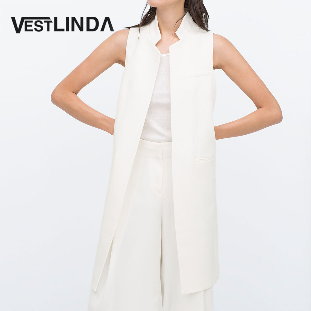 VESTLINDA Long Vest Back Split Outwear Waistcoats Women White Black Jacket Coat Sleeveless Cardigan Pocket Blazer Vest Femme Top 1