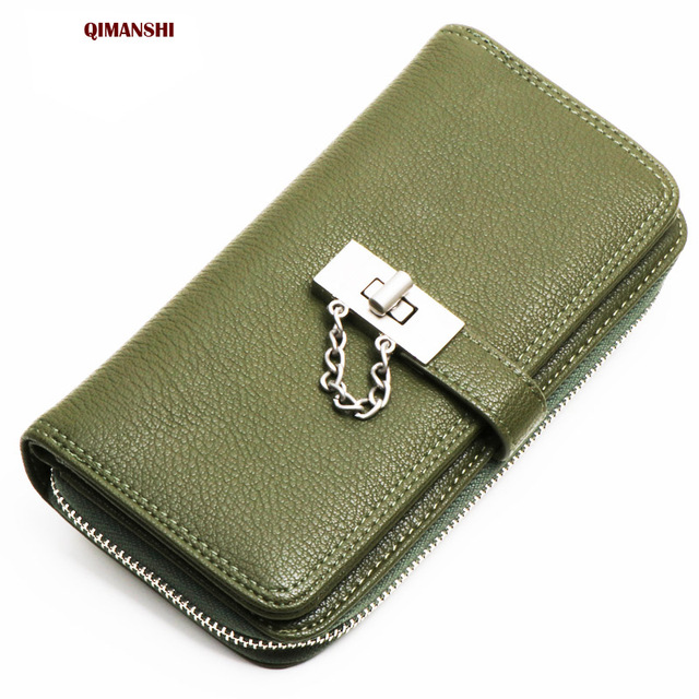 QIMANSHI Brand Women Wallets Clutch Phone Bag Long Zipper Ladies Purse  Female Leather Wallets Woman Purse d2a520515cc6