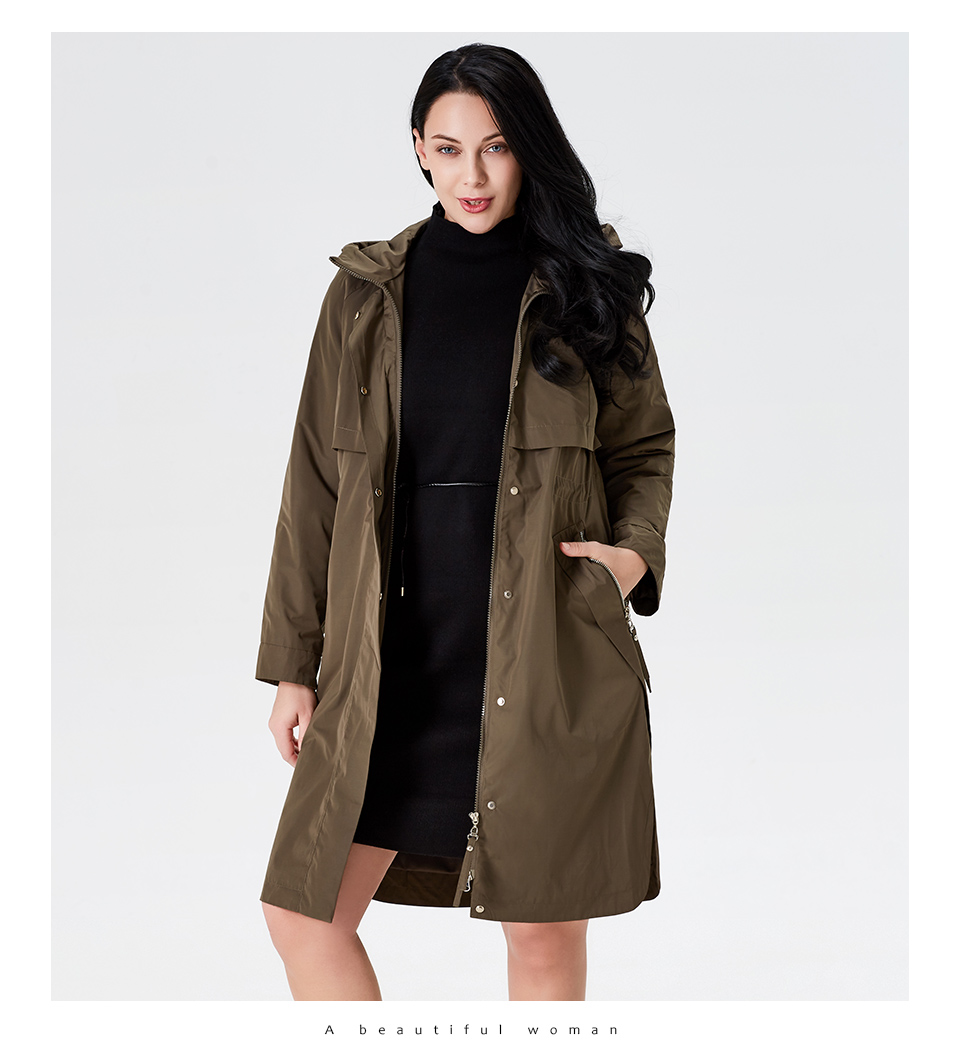 19 Trench Coat Spring And Autumn Women Causal coat Long Sleeve With Hood Solid color female moda muje High Quality new AS-9046 14