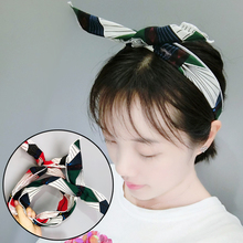 LNRRABC Bow Bunny Ears Hairband Kawaii Headband Korean Fashion Creative Leaf Pattern Design Soft  Charm Girl Hair Accessories