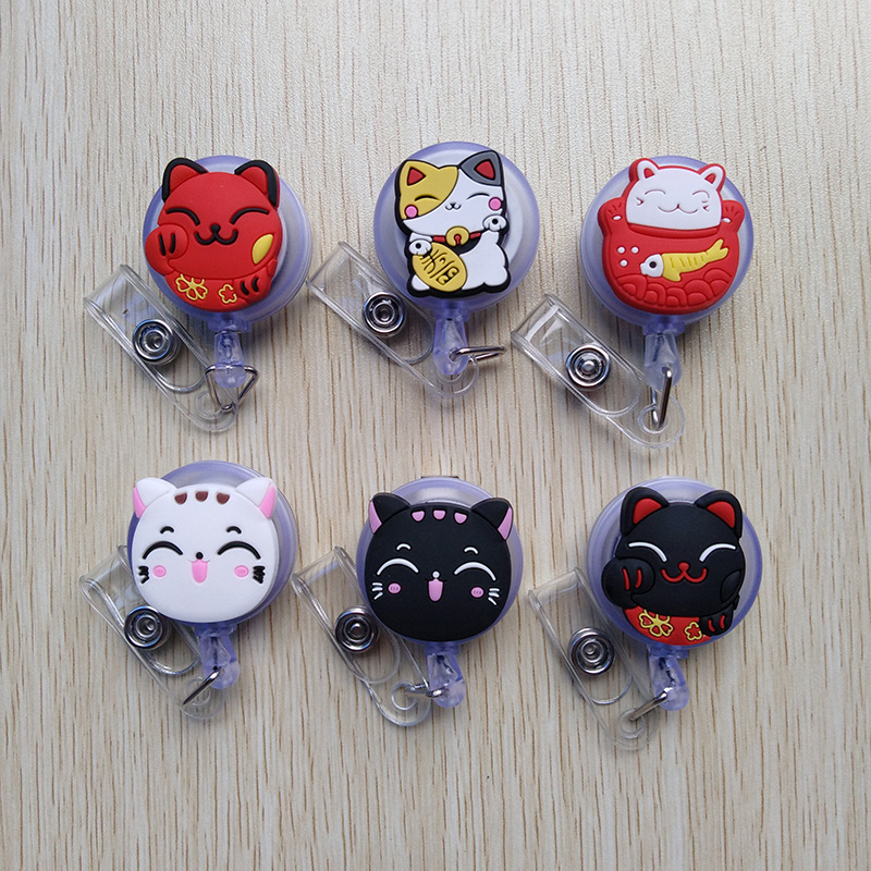 1pcs/lot Silica Gel Lovely Lucky Cat Badge Reel  Bus Card Student Nurse ID Name Card 2018 New Badge Holder 60cm Retractable Reel