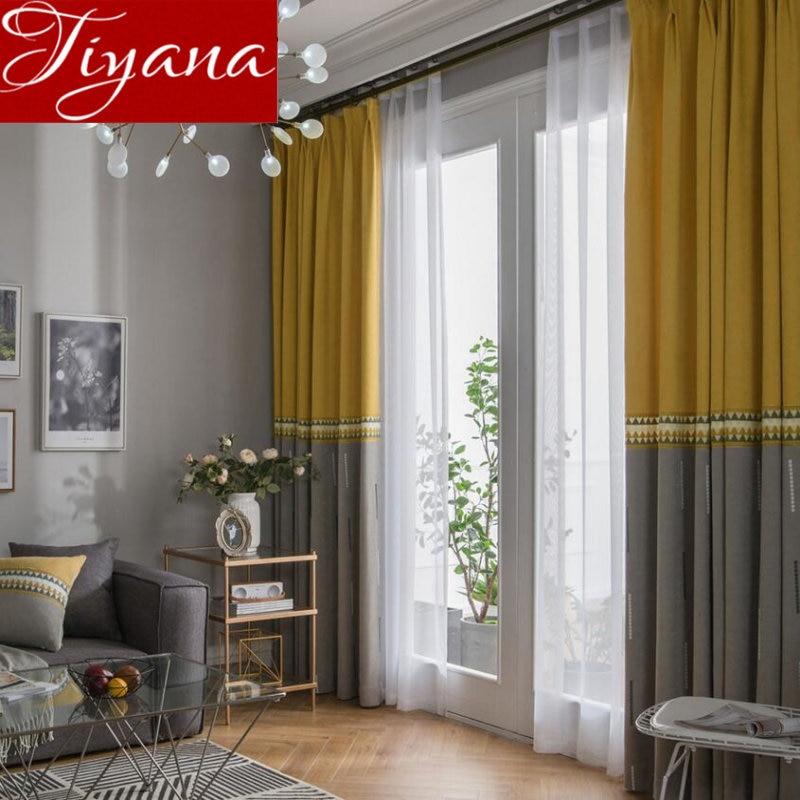 €3.04 37% de réduction|Jaune gris couture rideau fenêtre rideaux pour salon  de luxe cuisine pure tissus rideaux occultant Chenille X361 #30-in Rideaux  ...