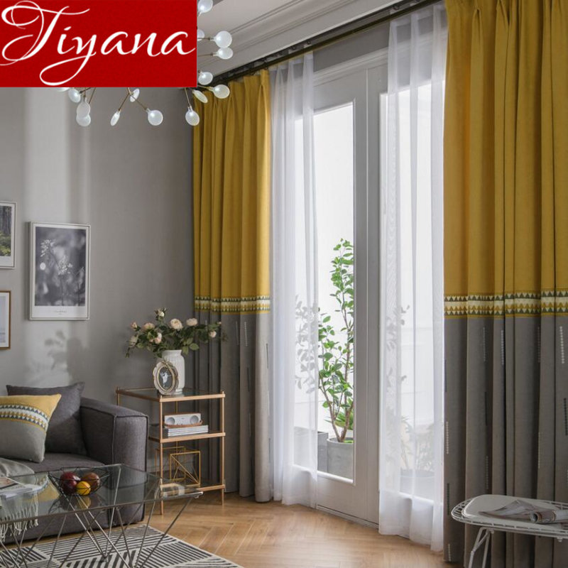 Kitchen Curtains Yellow And Gray: Yellow Gray Stitching Curtain Window Curtains For Living