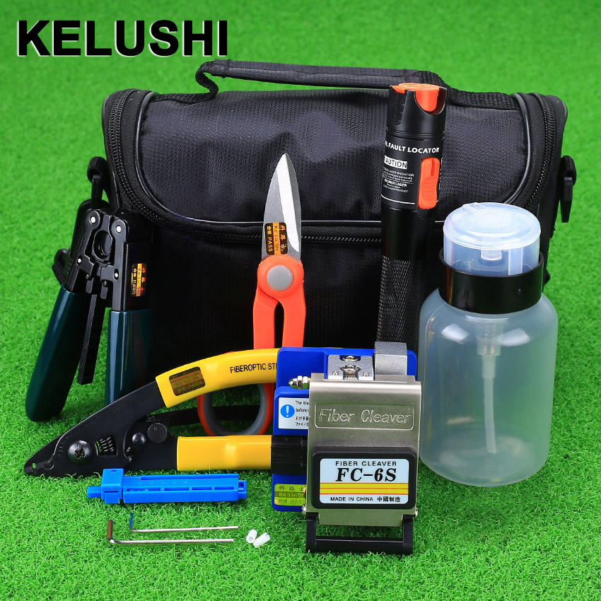 KELUSHI 15 st / set Fiber Optic FTTH Tool Kit med FC-6S Fiber Cleaver och 10 mW Visual Fault Locator Fiber Optic Stripper