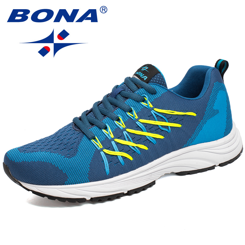 BONA New Bassics Style Men Running Shoes Lace Up Sport Shoes Outdoor Walking Jogging Athletic Shoes Popular Comfortable Sneakers bona new designer popular style men tenis shoes leather outdoor jogging shoes athletic shoes lace up trendy sneakers shoes