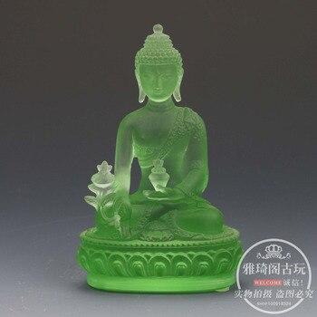 Tibetan Buddhism green glass Buddha Glaze Glass Buddha statue