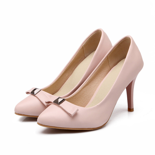Autumn new European and American bow pointed high-heeled shoes shallow mouth shoes with thin white-collar work shoes SM-45D0A