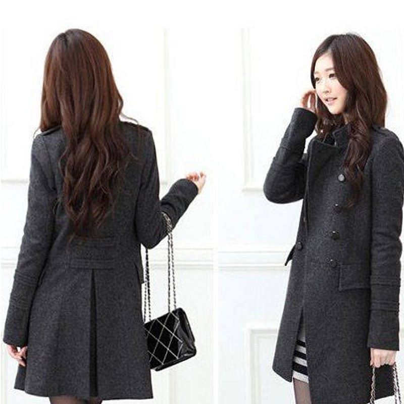 Mm Taille Black La Moyen Mince Gray Survêtement Vêtements long Des Livraison Trench dark Gratuite De Coat Laine Femmes Plus RIqwf5dC5