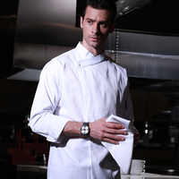 Hotel restaurant kitchen long sleeve washale durable white french pastry head chef uniform white cook coat