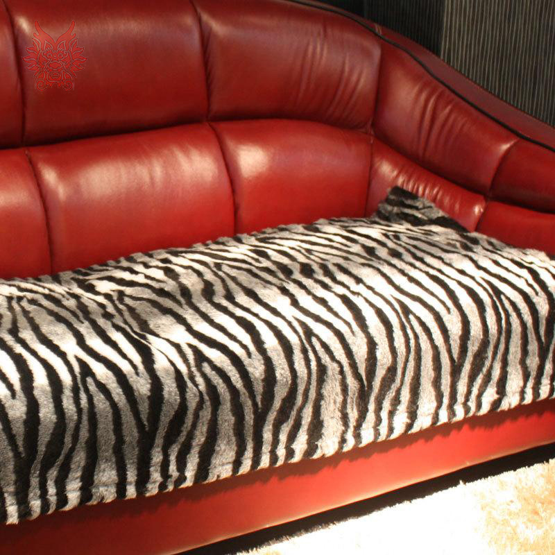 Modern Style Black Grey Zebra Print Faux Fur Sofa Cover