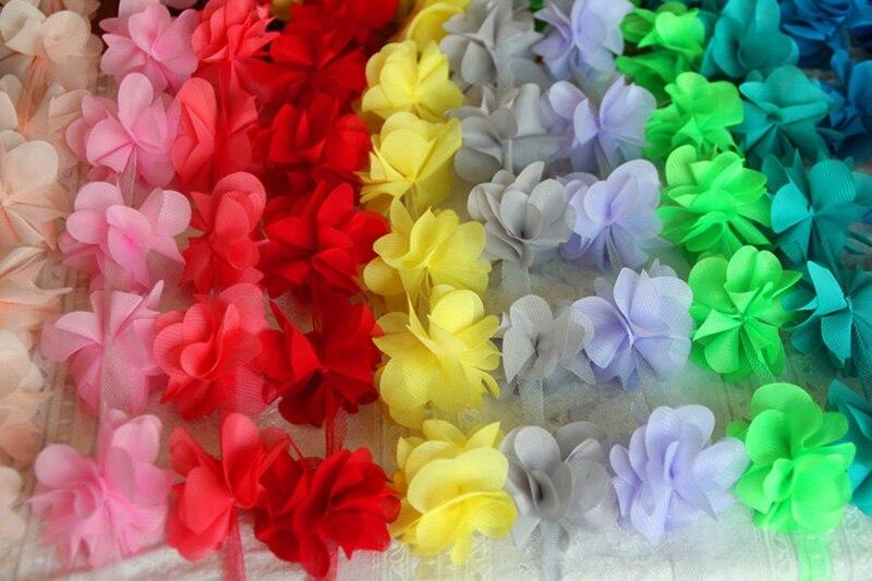 10 yardů 13 clolors 3D šifónové květiny krajka lemování krajky tkanina pro svatební svatební šifon o 12ks květiny na yard yyn176