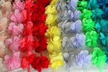 Ribbon 10 yards Designs Chiffon Flower Lace Trim for  Wedding Bridal Chiffon,about 12 pcs flowers per yard YYN175