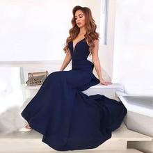c1bc4187ed0 2019 Navy Blue Mermaid Evening Gowns V Neck Satin Backless Long Women  Dresses Elegant Formal Prom