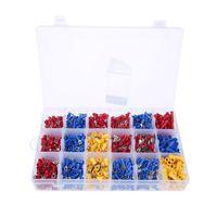 1200 pçs/set 18 tipos vermelho/azul/amarelo terminais de friso sortido talões cabo fio conector para aplicação automóvel