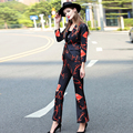2016 Fall Winter Women's Set Fashion Brand Runway Sets Female Long Sleeve Print Blazer and Flare Pants Suit Set OL Work Outfit