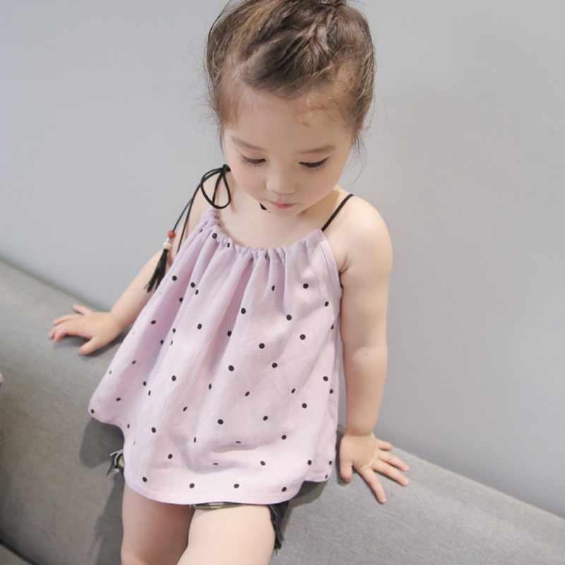 Comfortabele Zomer Baby Meisje T-shirt Met Mouwloze Comfortabel Voor Dressing In De Zomer Met Twee Kleuren