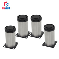 4pcs 150mm Length Furniture Legs Adjustable 15mm Cabinet Feet Silver Tone Stainless Steel Table Bed Sofa