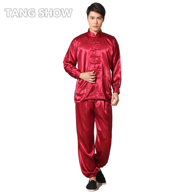 Red Chinese Traditional Men's Rayon Kung Fu Tai Chi Suit Long Sleeve  Uniform Shirt &Pant Sets S M L XL XXL M048