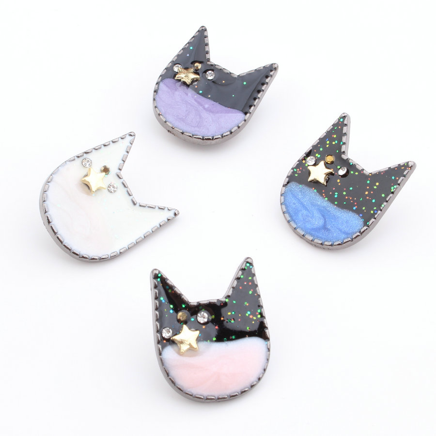 Black headbands for crafts - 20pcs New Fashion Gum Black Tone Enamel Jewelry Charms Glitter Animal Cat Head Charm Craft With Clips Fit Girls Elastic Headband