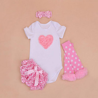 4PCs per Set Newborn Pink Love Baby Girls Clothes Polka Dots Satin Shorts Headband Leggings for 0 24Months