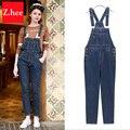 Clássico Elasticidade Denim Macacão Jeans Mulheres jumpsuit Apertado Cintura Alta Jeans macacão Para Mulheres Calças de Brim