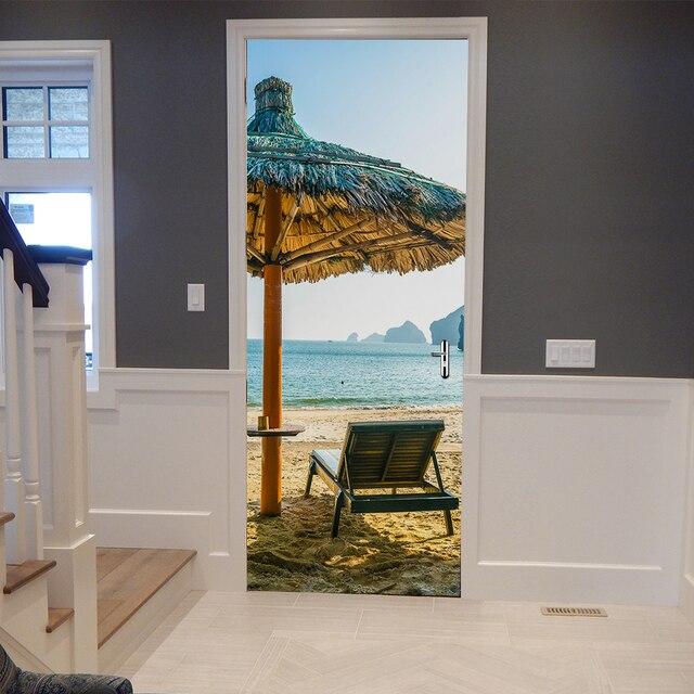 creative diy 3d door stickers beach umbrella pattern for room door