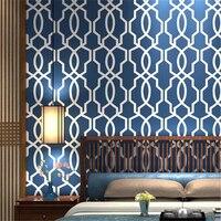 Beibehang Modern HD tarzı yatak odası Ev dekorasyon duvar kağıdı dokuma düz kafes pencere geometri arka plan 3d duvar kağıdı rulo