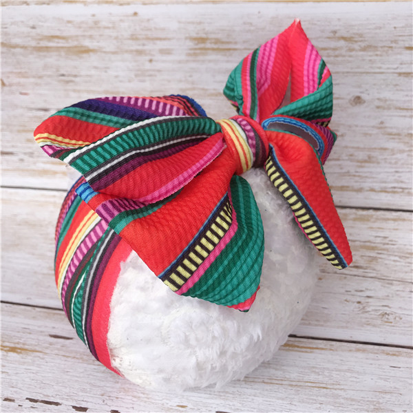 Bandeaux bébé blocage de couleur gros arcs Turban chapeaux enfant en bas âge Haarband Blumen bricolage bandes de cheveux accessoires de chapeaux