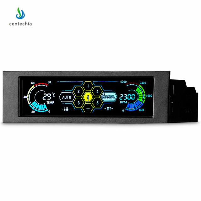 Centechia PC Fan Cooling Speed Controller Temperature Display LCD