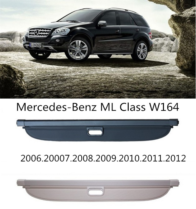 For Mercedes-Benz ML Class W164 ML300 ML350 ML500 2006-2012 Rear Trunk Security Shield Cargo Cover High Qualit Accessories car rear trunk security shield cargo cover for honda fit jazz 2014 2015 2016 2017 high qualit black beige auto accessories